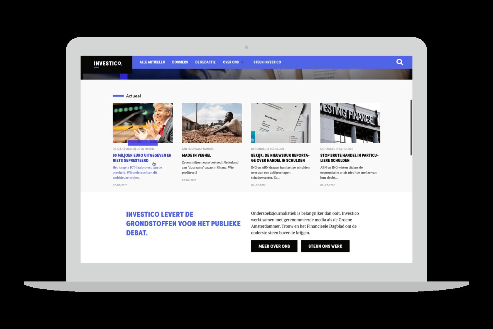 Die Website von Platform Investico, geöffnet auf einem laptop