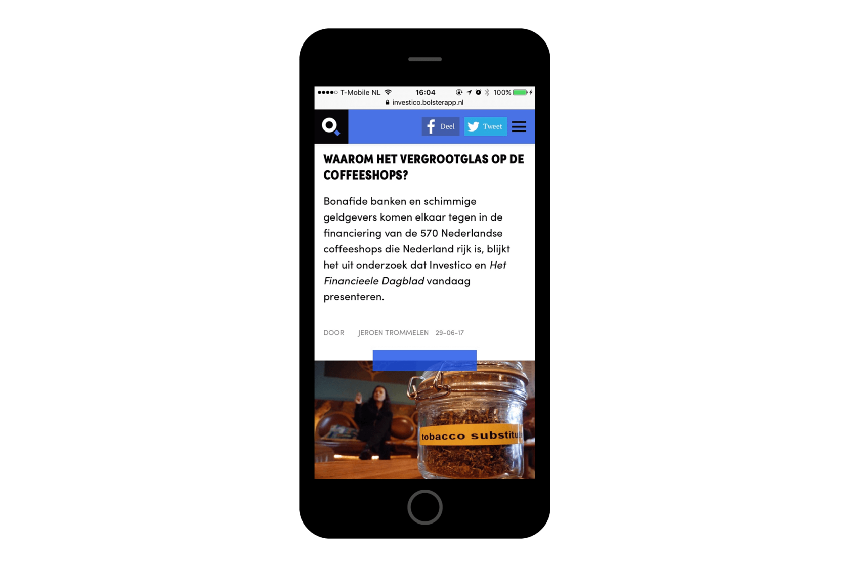Die Website von Platform Investico, geöffnet auf einem smartphone