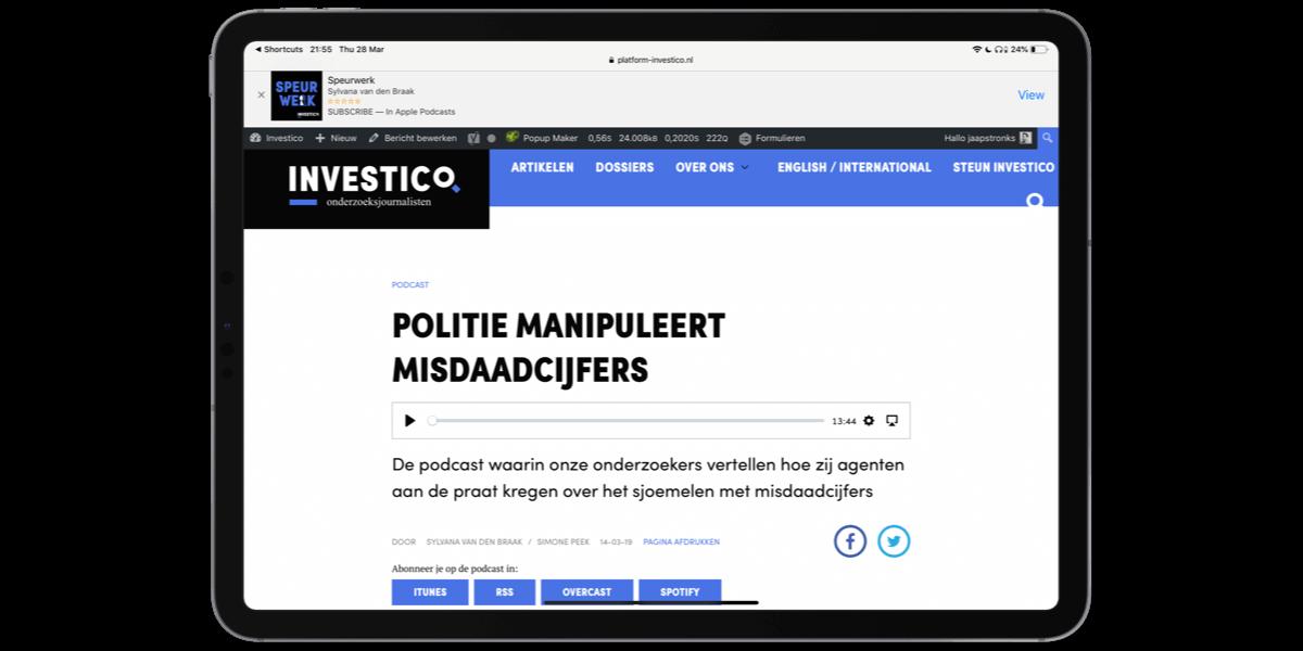 Die Website von Platform Investico, geöffnet auf einem tablet-PC